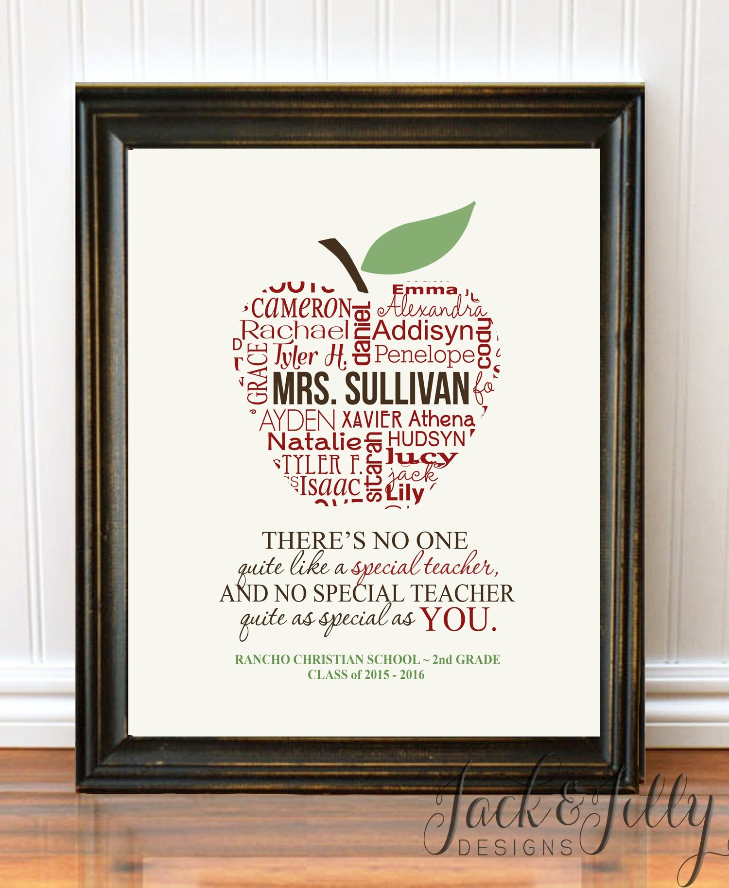 PERSONALIZED APPLE TEACHER PRINT with Student's Names