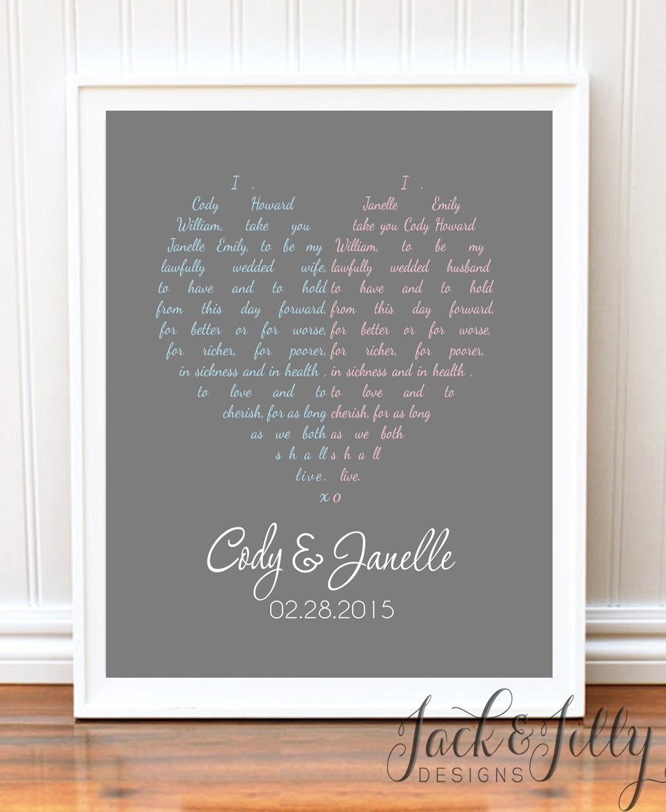 Unique Wedding Vows: PERSONALIZED WEDDING VOW/SONG HEART PRINT