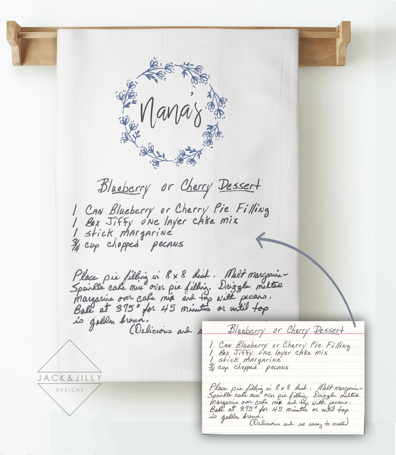 handwritten personalized tea towel using a cherished family recipe mothers day gift