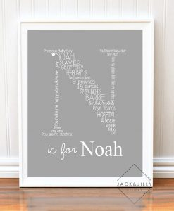 monogram birth announcment birth stat print