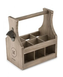 monogrammed beer caddy including bottle opener