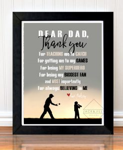 thank you dad baseball print great gift for dad