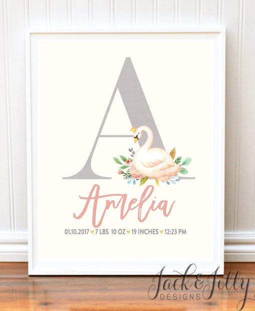 Swan Birth Stat Print - Princess