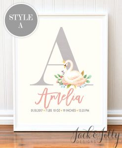 watercolor swan nursery decor