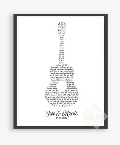 Your wedding song lyrics in the shape of a guitar
