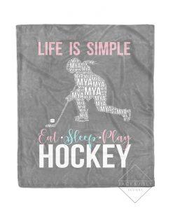 girl hockey blanket