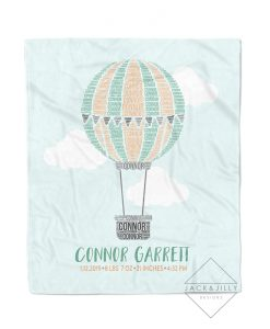 hot air balloon birth stat name blanket