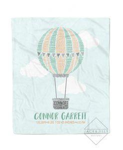 hot air balloon birth stat name blanket